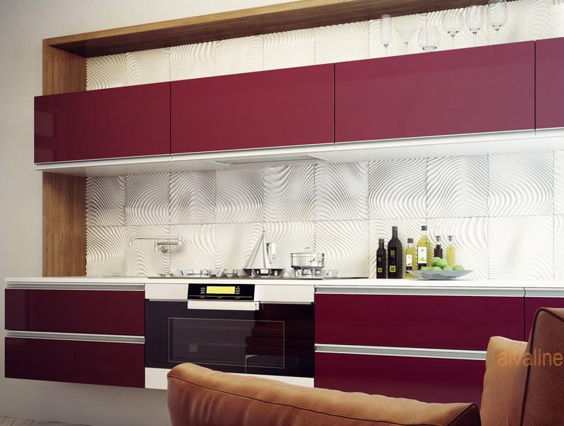 Купить кухню в Гомеле из крашенного мдф с алюминиевым профилем Alva Alu 1
