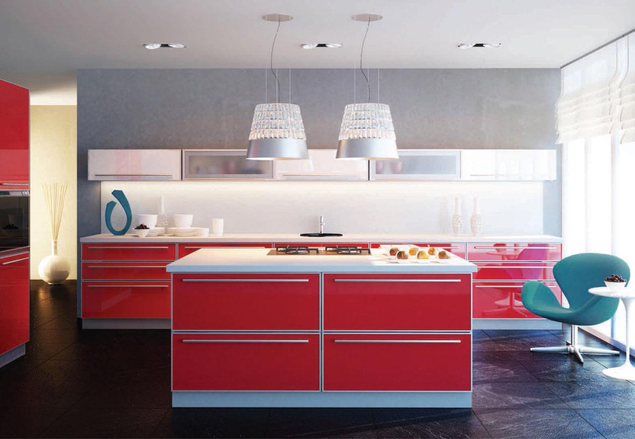 Купить кухню в Гомеле из крашенного мдф в алюминиевом профиле Manhattan